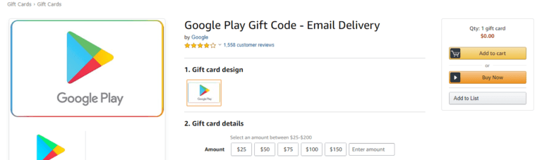 Purchasing Google Gift Card from Amazon for Disney+ subscription