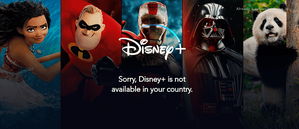 Disney Plus not available